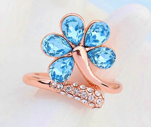 Love as Like Blue Flower Crystal Valentine's Day Ring