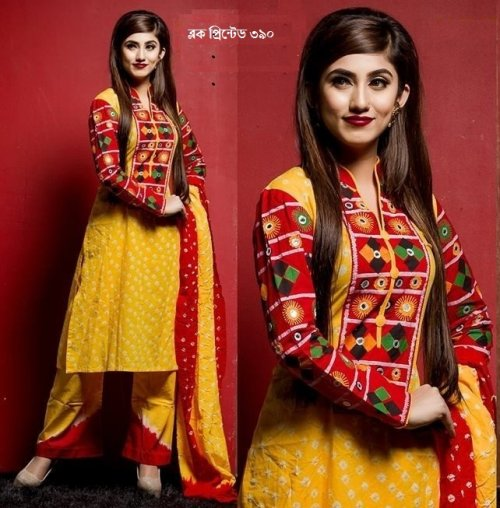 unstiched block printed cotton replica three pcs salwar kameez seblock-390