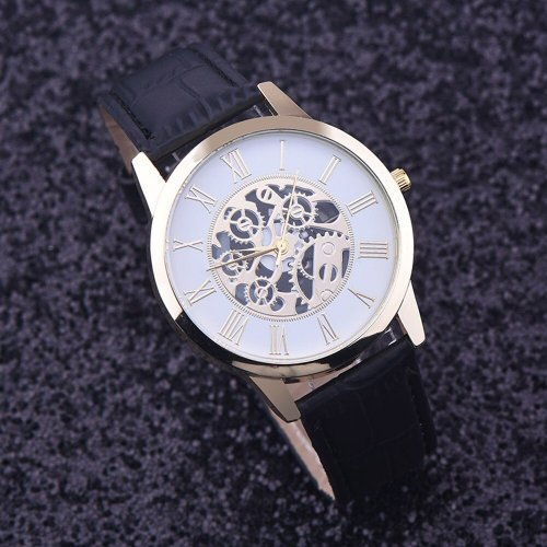 Rome Digital Leather Band Analog Dial Quartz Wrist Watch Black