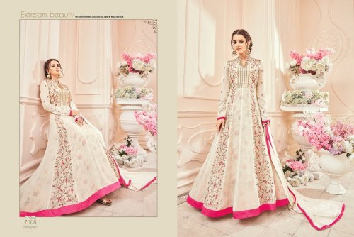 white un-stitched kesari trendz georgette with embroidery salwar suit