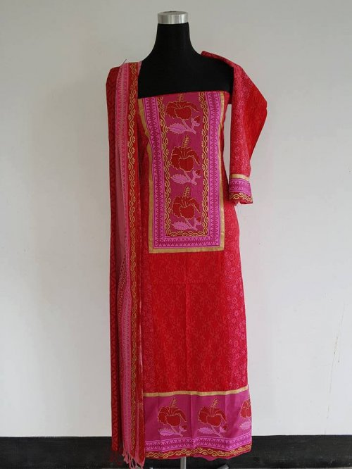 unstiched block printed cotton replica three pcs salwar kameez seblock-564