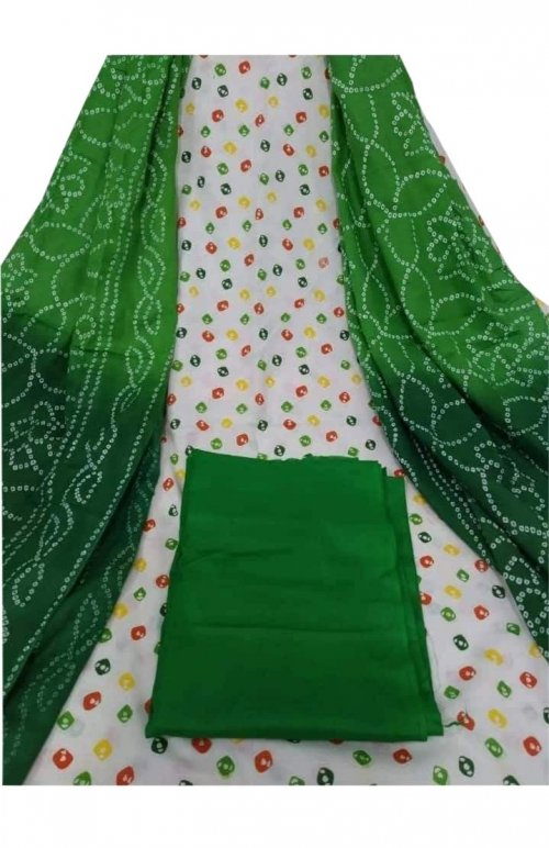 Latest Designed White And Dark Green High Quality Cotton Salwar Kameez for Women