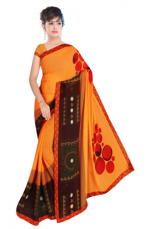 Indian Yellow And Coffee Color Silk Printed saree For women