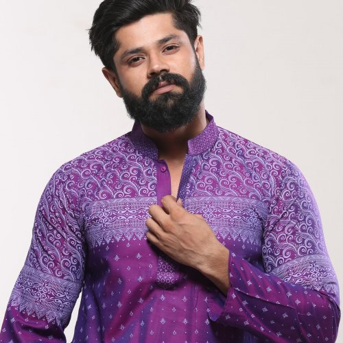 Mens Cotton Punjabi - Deep Purple Block Print
