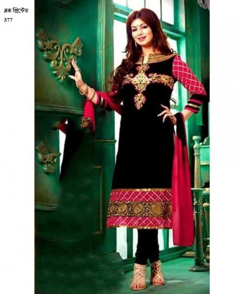 unstiched block printed cotton replica three pcs salwar kameez seblock-377