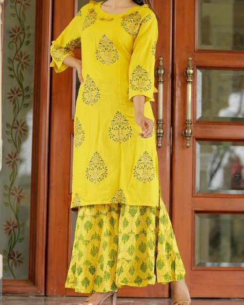 Latest Yellow Block Printed 2 Piece Salwar Kameez for Women-free size