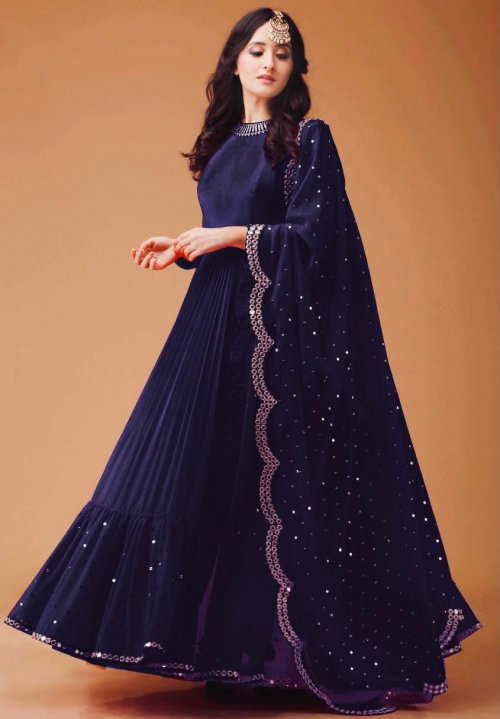 Eye Catching Blue colored Georgette febric Party wear Anarkali suit with dupatta