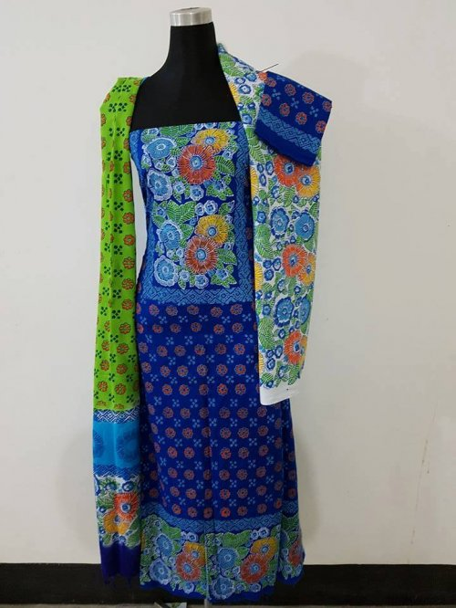unstiched block printed cotton replica three pcs salwar kameez seblock-565