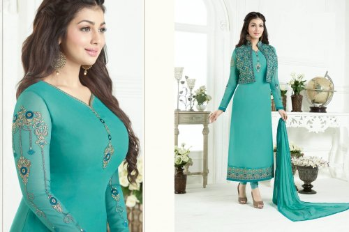 deep paste embroidery koti style dress salwar kameez