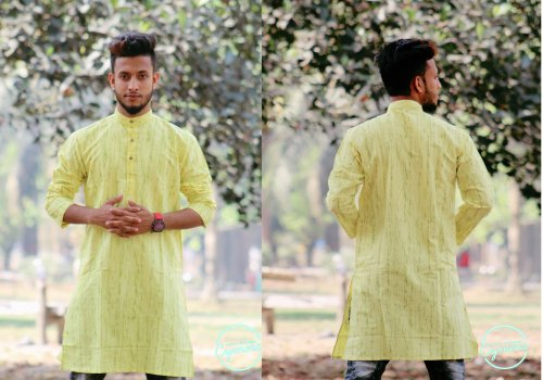 Yellow Cotton Casual Long Panjabi for Men