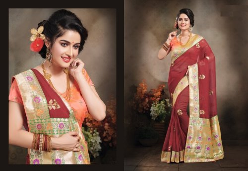 Marron and Golden Embroidery Work Katan Saree For Women