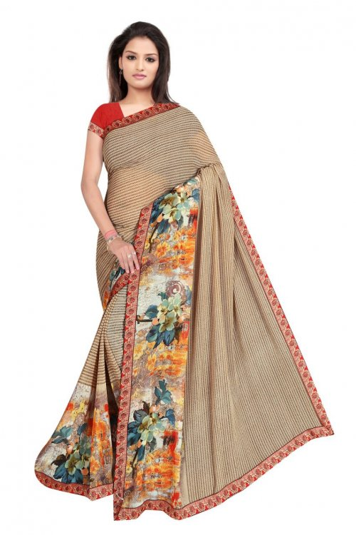 Indian Brown Silk Printed saree For women