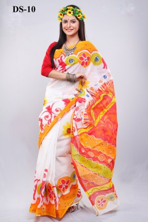 Boishakhi Cotton kota handprint Saree