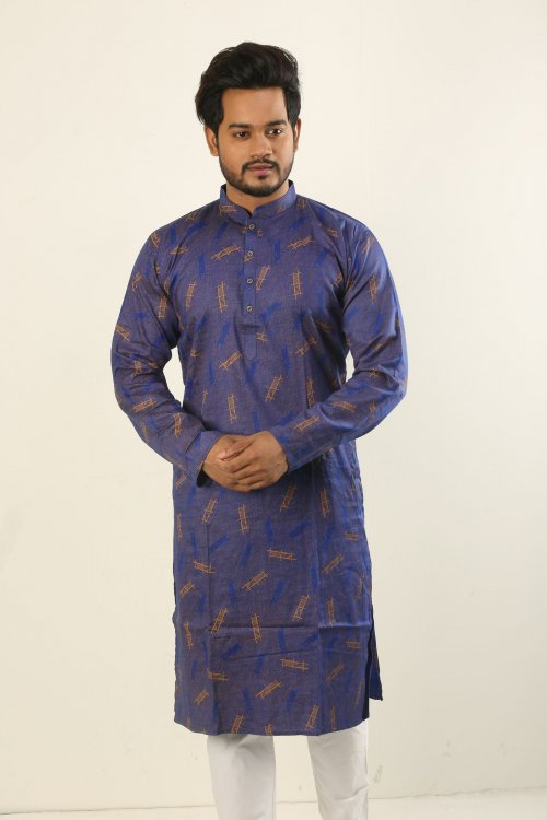 Cotton Punjabi - Brown And Blue