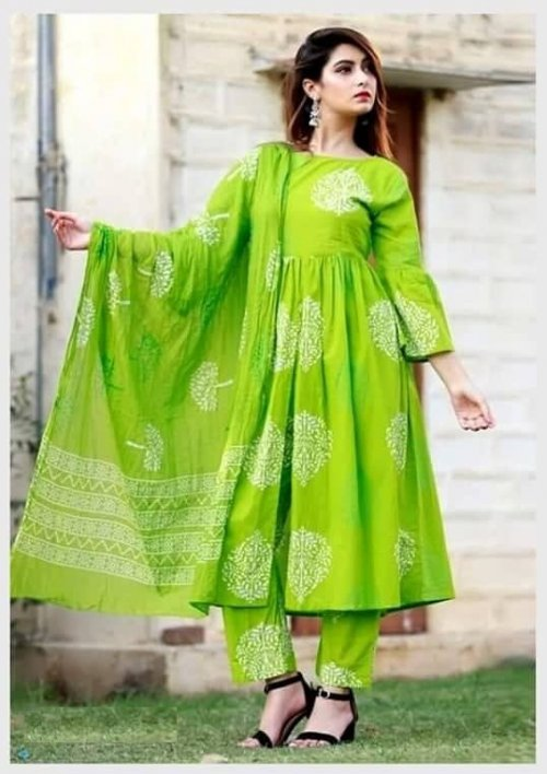 Latest Light Green Block Printed Salwar Kameez For Women-free size