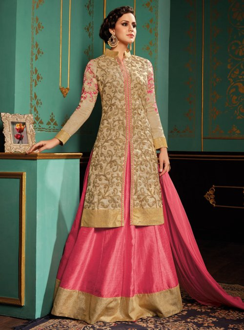 PINK DESIGNER PUNJABI WEDDING AND PARTY WEAR LENGHA WITH LONG SILK BEIGE CHOLI