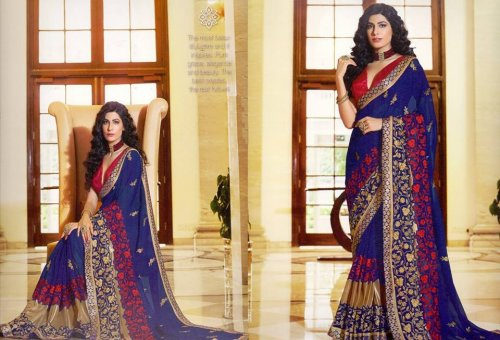 Georgette and embroidery work saree ssc-728