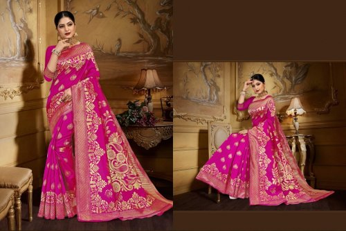 Pink and Golden Embroidery Work Katan Saree For Women