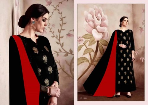 Latest Black and Red Block Printed Salwar Kameez for Women-free size