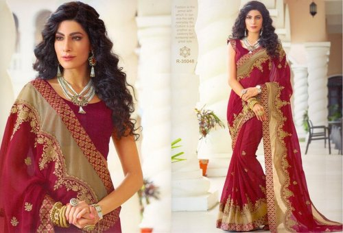 Georgette and embroidery work saree ssc-730