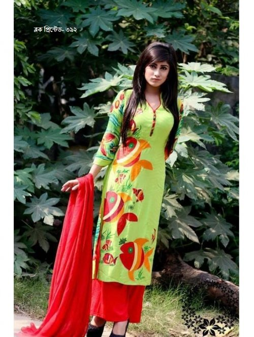 unstiched block printed cotton replica three pcs salwar kameez seblock-392