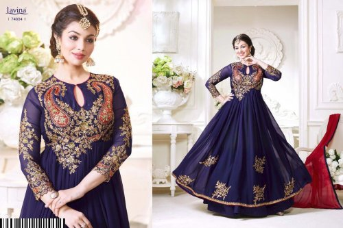 un-stitched LAVINA ROOHANI VOL GEORGETTE DESIGNER ANARKALI SALWAR SUITS