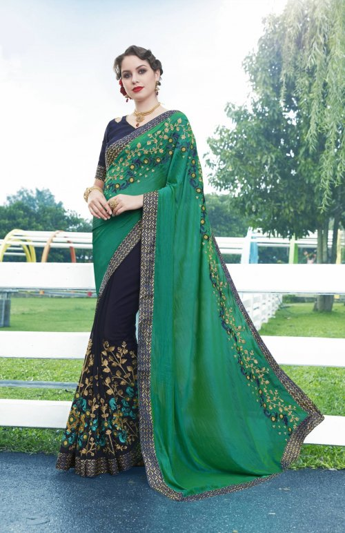 Georgette and embroidery work saree nsc-715
