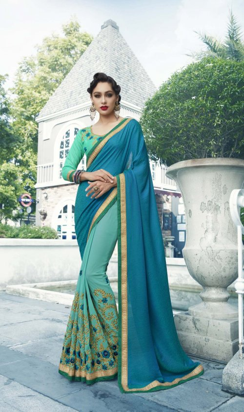Georgette and embroidery work saree nsc-723