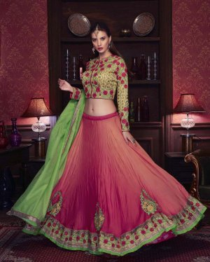 Un-stitched Heavy Embroidered Wedding Wear Lehenga Choli