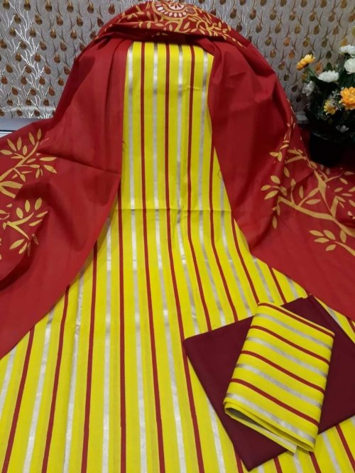 Latest Yellow and Marron Skin Printed 3 pieces Salwar Kameez for Women