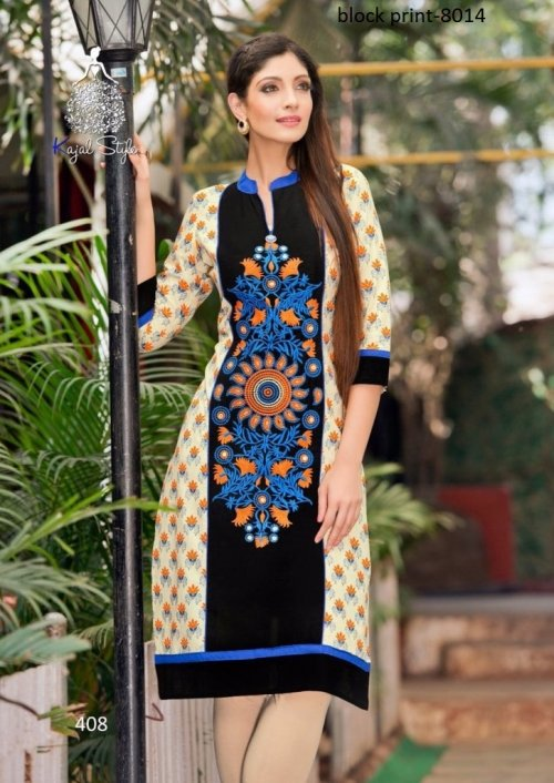 Unstiched block printed cotton replica salwar kameez seblock-8014