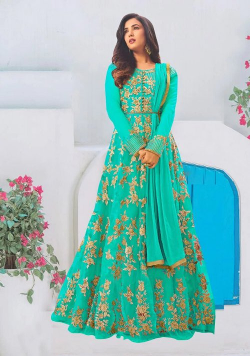 """Unstitched Georgette long frocks for women """