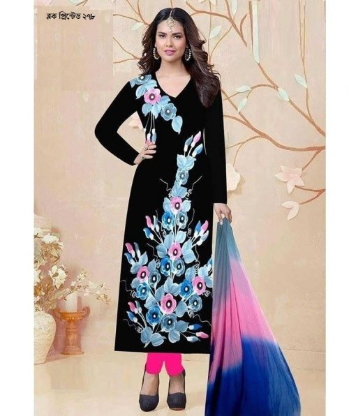 unstiched block printed cotton replica three pcs salwar kameez seblock-278