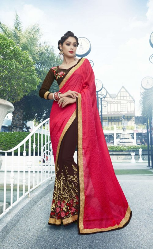 Georgette and embroidery work saree nsc-716