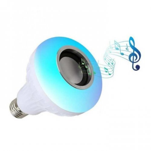 """LED Bulb with Wireless Bluetooth Speaker - White """