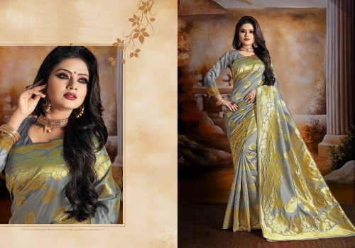 Ash and Golden Embroidery Work Katan Saree For Women