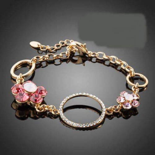 Crystal 2 pcs Flower and 3pcs Round Charm Bracelet