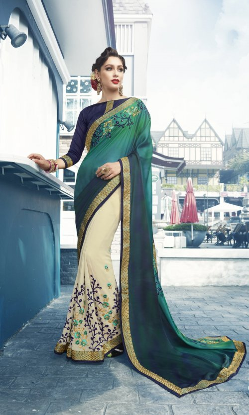 Georgette and embroidery work saree nsc-718