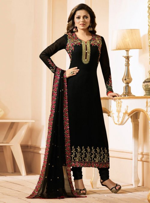 Black Nitya Madhubala Long Suit with salwar kameez