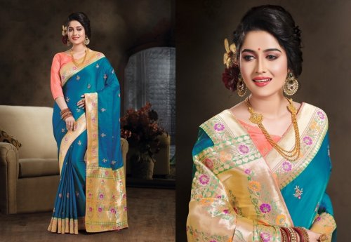 Sky Blue and Golden Embroidery Work Katan Saree For Women