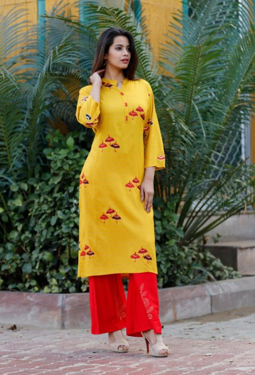 Latest Goldenrod Block Printed 2 pieces Salwar Kameez for Women