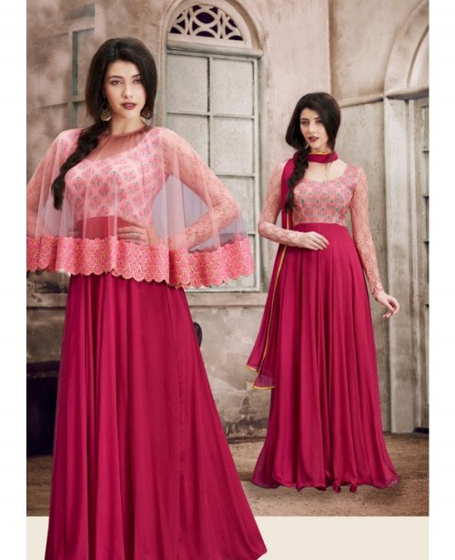 PINK FLORAL LENGTH CAPE STYLE ANARKALI SUIT EVOLVE-1033B