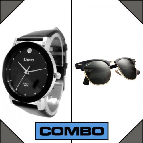 Bariho Watch & RayBan Men's Sunglasses Combo