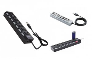 7-Ports USB HUB with Individual On-Off Switches