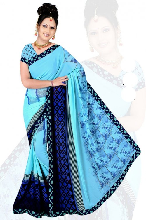 Indian Sky Blue Silk Printed saree For women