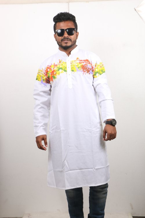 white Cotton Casual Long Panjabi for Men mfz-103