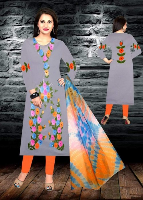 Unstiched brush printed cotton replica salwar kameez seblock-623