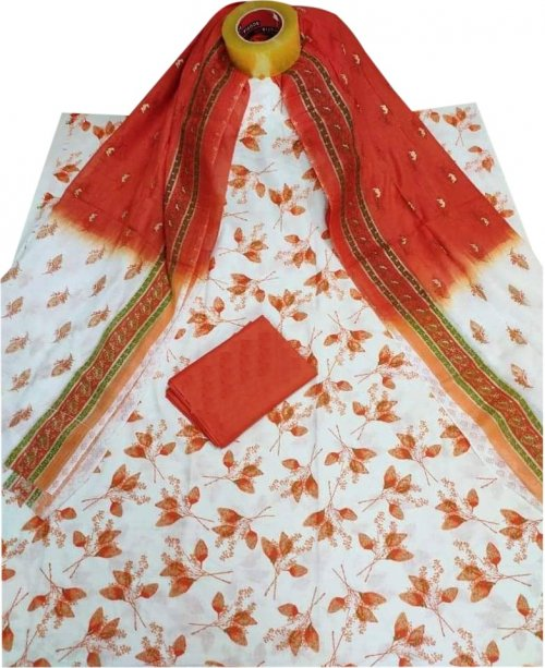 Latest white and orange Skin Printed 3 piece Salwar Kameez for Women