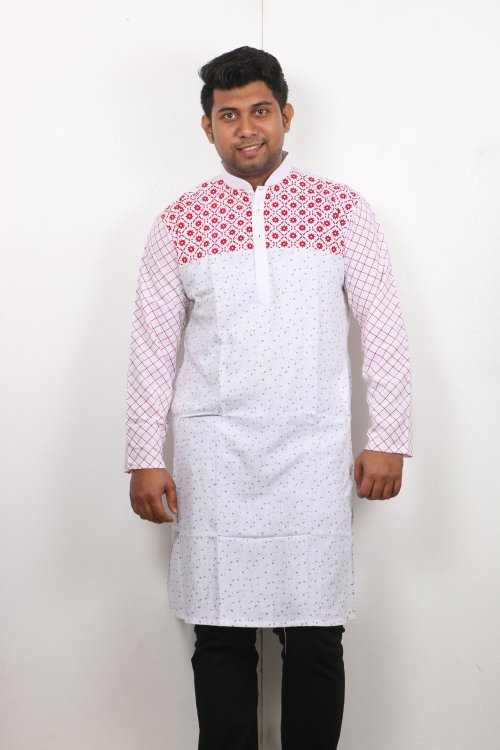 white and red Cotton Casual Long Panjabi for Men mfz-104