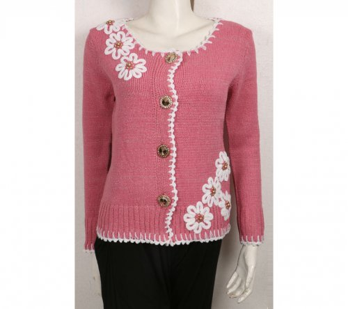 pink Woolen Cotton Full Sleeve Sweater For Women